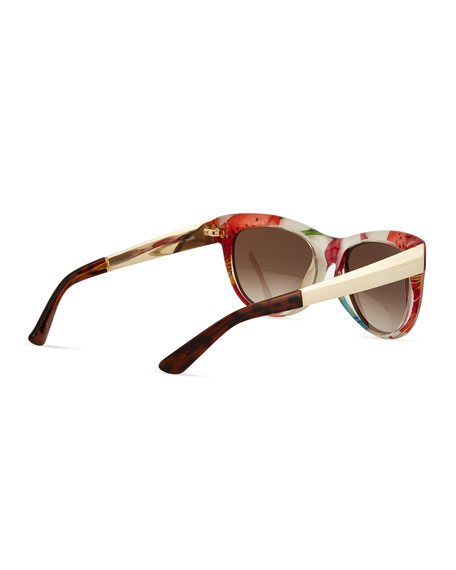 9d8f99d52 Gucci Floral-Fabric-Embed Butterfly Sunglasses, Havana