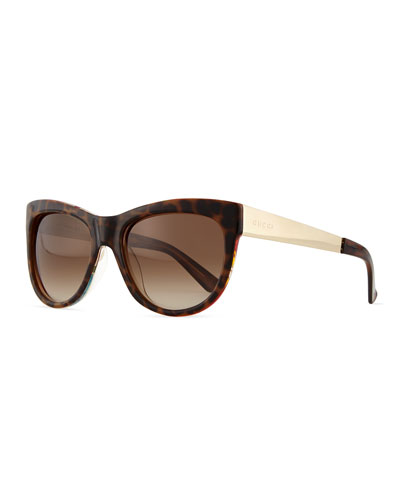 Floral-Fabric-Embed Butterfly Sunglasses, Havana