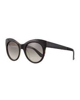 Fabric-Embed Butterfly Sunglasses, Black