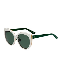 Diorific Butterfly Sunglasses, White/Green