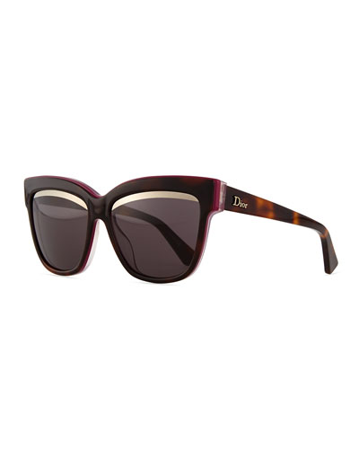 Graphic Square Sunglasses, Havana/Purple/Pink