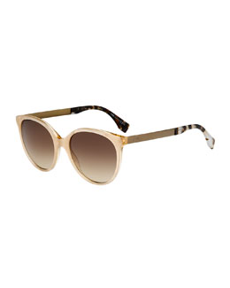 Butterfly Acetate Sunglasses, Beige