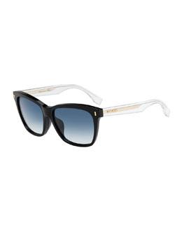 Universal-Fit Rectangular Sunglasses, Black/Clear