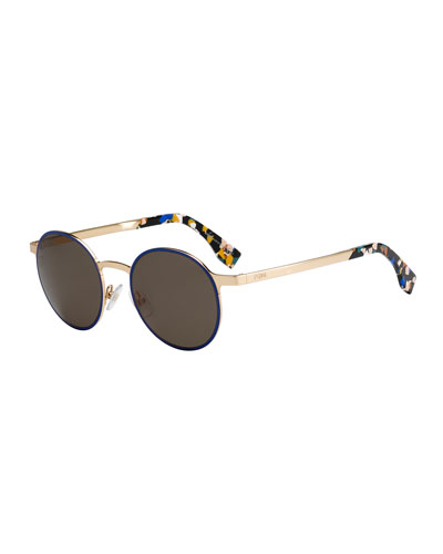 Round Floral-Ear Metal Sunglasses, Blue Multi