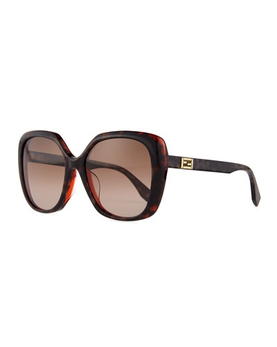 Universal-Fit Square Sunglasses, Brown/Gray