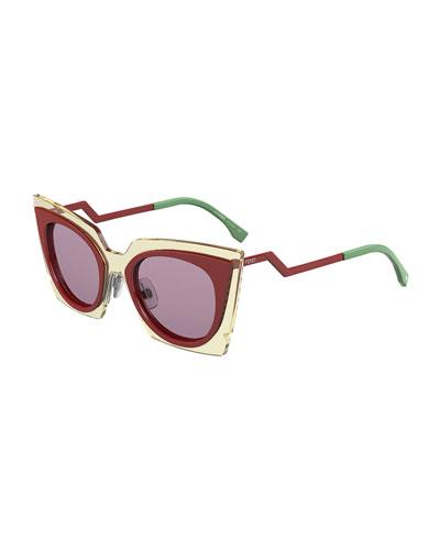 Runway Cat-Eye Sunglasses, Red/Beige