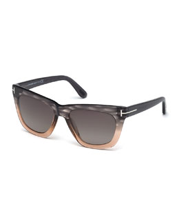 Celina Colorblock T-Temple Sunglasses, Gray/Pink