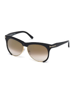 Leona Dual-Rimmed Sunglasses, Black/Gold