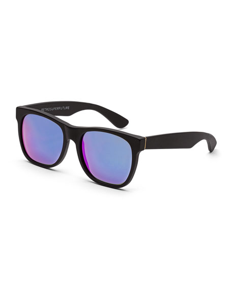 Classic Mirrored-Lens Sunglasses, Black