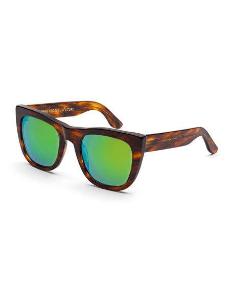 Gals Cove Mirrored-Lens Tortoise Sunglasses, Brown/Green