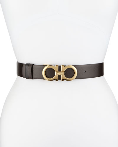 3.5cm Reversible Leather Gancini Belt, Brown/Black
