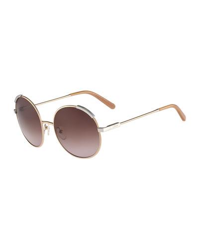 Eria Round Mixed-Metal Sunglasses, Dark Brown