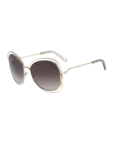 Carlina Butterfly-Frame Sunglasses, Gold/Gray