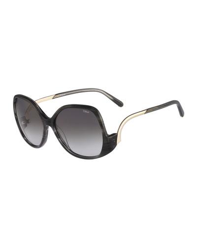Emilia Drop-Temple Sunglasses, Black