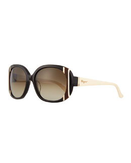 Universal Fit Striped Butterfly Sunglasses, Black/Ivory