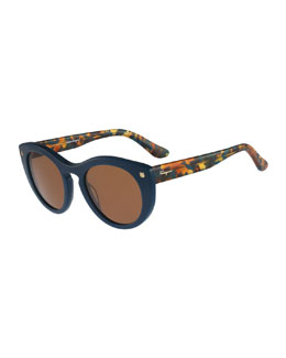Rounded Cat-Eye Sunglasses, Petrol Blue