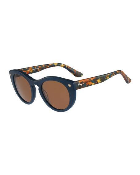 Rounded Cat-Eye Sunglasses, Petrol Blue