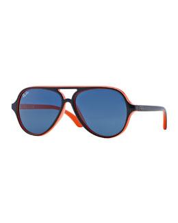 Children's Aviator Sunglasses, Blue/Orange