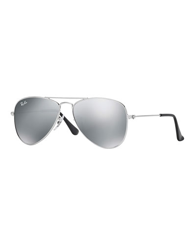 Children's Mirrored Aviator Sunglasses, Silver