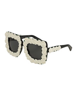 Absolute Luxury Roses Sunglasses, White/Black
