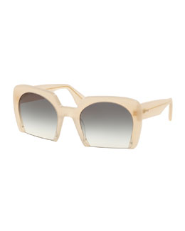 Rasoir Cutoff Square Sunglasses, Sand
