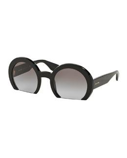Rasoir Cutoff Round Sunglasses, Black