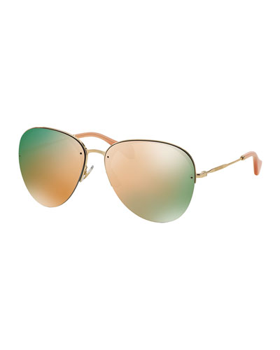 Oversized Metal Aviator Sunglasses, Pink/Golden