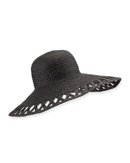 Maribel Cutout-Wide-Brim Hat, Black