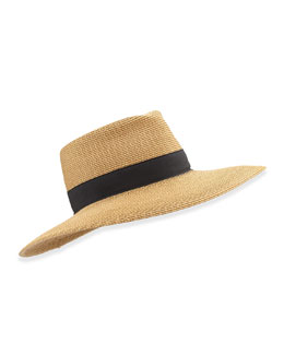 Daphne Broad-Brim Fedora, Natural/Black