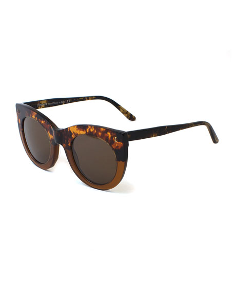 Boca Bicolor Cat-Eye Sunglasses, Brown/Black
