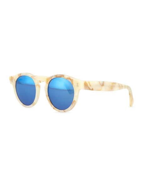 Leonard Round Horn-Pattern Sunglasses with Mirror Lens, Cream