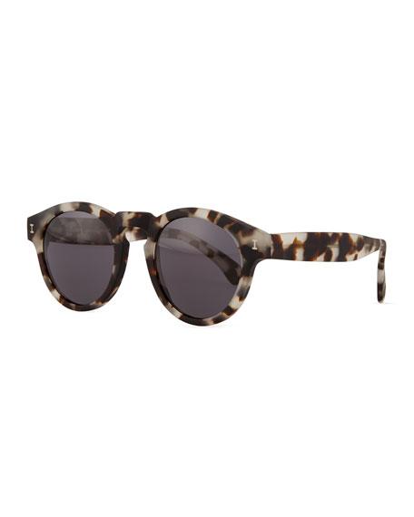 Leonard Matte Tortoise-Pattern Sunglasses, Gray