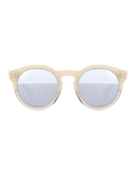 Leonard II Round Bicolor Sunglasses, Cream/Clear