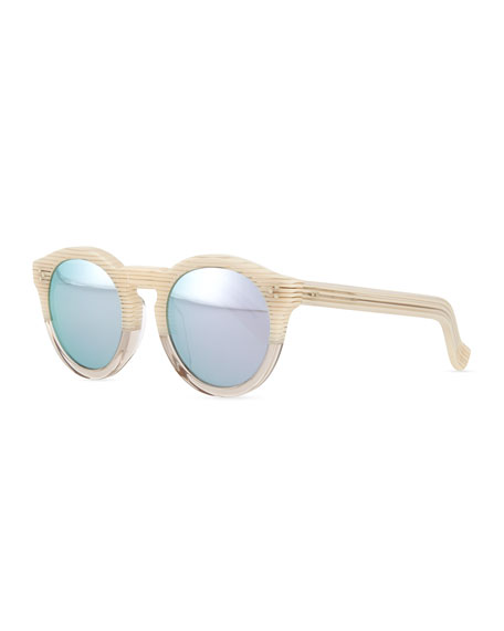 Image 1 of 1: Leonard II Round Bicolor Sunglasses, Cream/Clear