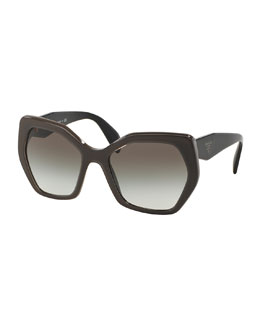 Heritage Hexagonal Sunglasses, Gray