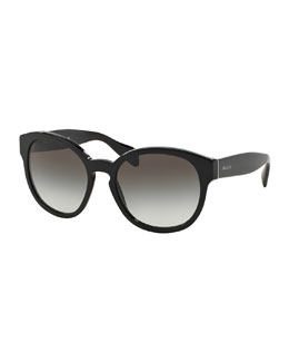 Conceptual Round Sunglasses, Black