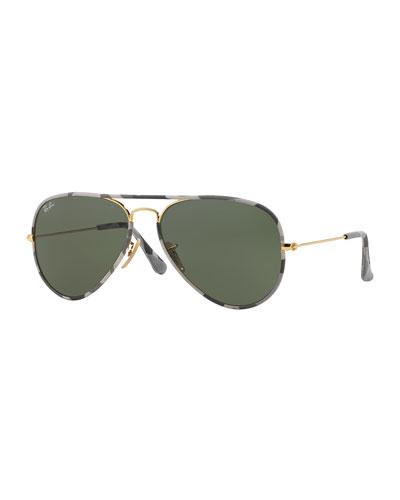 Printed-Rim Aviator Sunglasses