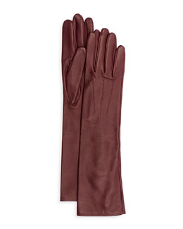 Silk-Lined Long Leather Gloves