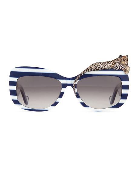Rose et la Mer Stripe Sunglasses, Blue/White