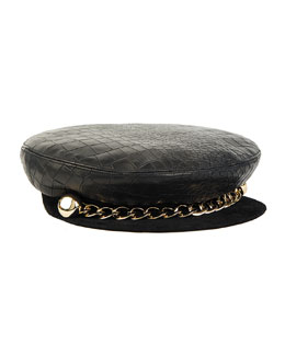 Marina Leather Captain's Hat