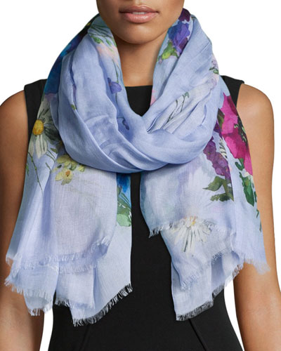 Floral-Print Oblong Scarf, Navy