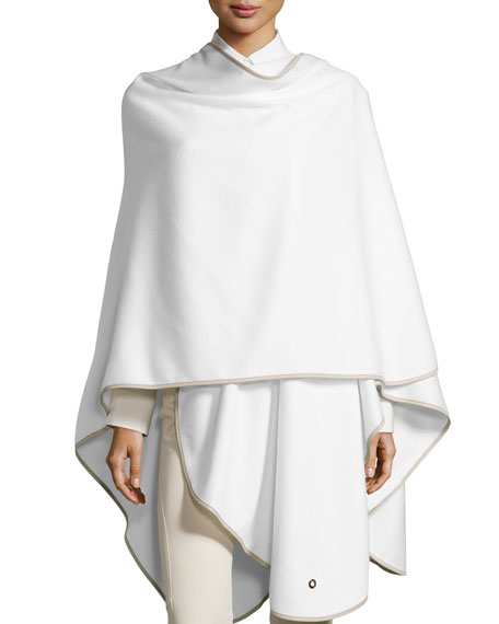 Loro Piana Mantella Regina Cashmere Cape, White/Gray