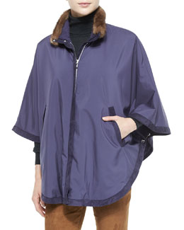 Winter Vail Reversible Wind Cape, Amethyst