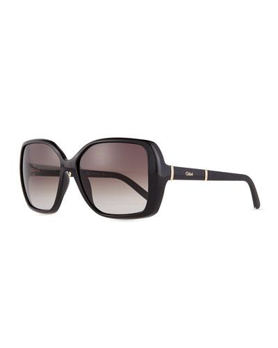Daisy Square Sunglasses, Black