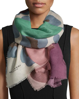 Floral/Animal-Print Cashmere Scarf, Purple/Pink