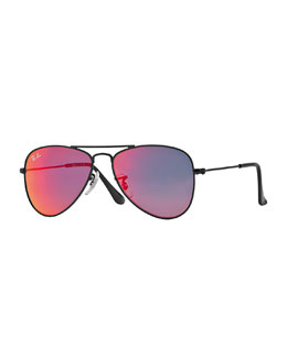 Children's Mirrored Aviator Sunglasses, Black/Red