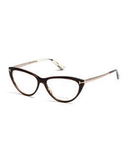 Cat-Eye Metal/Plastic Fashion Glasses