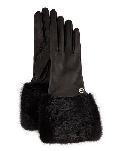 Fur-Trim Leather Gloves, Black