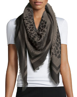 Animal-Print Large Square Scarf, Sand
