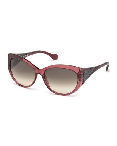 Printed-Leather-Temple Sunglasses